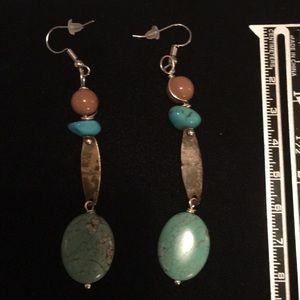 Pierced earrings w/ Turquoise & antique findings
